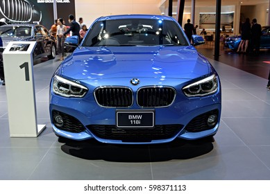 NONTHABURI, THAILAND - MARCH 22: The BMW 118i is on display at the 37th Bangkok International Motor Show 2016  on March 22, 2016 in Nonthaburi, Thailand.