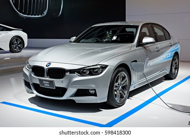 NONTHABURI, THAILAND - MARCH 22: The BMW 330e is on display at the 37th Bangkok International Motor Show 2016  on March 22, 2016 in Nonthaburi, Thailand.