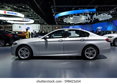 NONTHABURI, THAILAND - MARCH 22: The BMW 528i is on display at the 37th Bangkok International Motor Show 2016  on March 22, 2016 in Nonthaburi, Thailand.