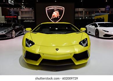 NONTHABURI, THAILAND - MARCH 22: The Lamborghini Aventador is on display at the 37th Bangkok International Motor Show 2016  on March 22, 2016 in Nonthaburi, Thailand.