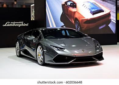 NONTHABURI, THAILAND - MARCH 22: The Lamborghini Huracan is on display at the 37th Bangkok International Motor Show 2016  on March 22, 2016 in Nonthaburi, Thailand.