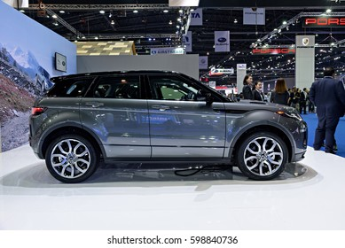 NONTHABURI, THAILAND - MARCH 22: The Land Rover Range Rover Evoque is on display at the 37th Bangkok International Motor Show 2016  on March 22, 2016 in Nonthaburi, Thailand.
