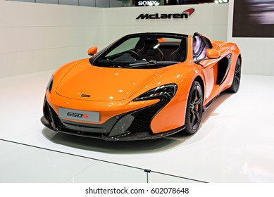 NONTHABURI, THAILAND - MARCH 22: The McLaren 650S is on display at the 37th Bangkok International Motor Show 2016  on March 22, 2016 in Nonthaburi, Thailand.