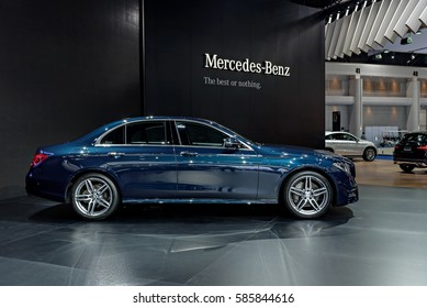 NONTHABURI, THAILAND - MARCH 22: The Mercedes Benz E220d is on display at the 37th Bangkok International Motor Show 2016  on March 22, 2016 in Nonthaburi, Thailand.
