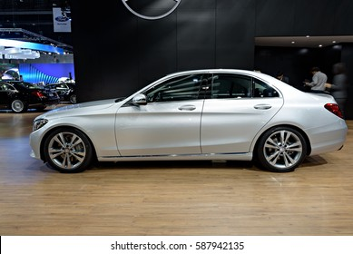 NONTHABURI, THAILAND - MARCH 22: The Mercedes Benz C350e is on display at the 37th Bangkok International Motor Show 2016  on March 22, 2016 in Nonthaburi, Thailand.