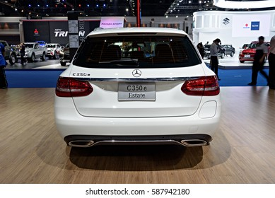 NONTHABURI, THAILAND - MARCH 22: The Mercedes Benz C350e Estate is on display at the 37th Bangkok International Motor Show 2016  on March 22, 2016 in Nonthaburi, Thailand.