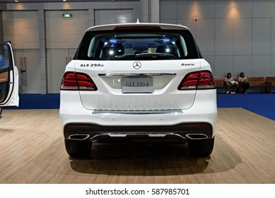 NONTHABURI, THAILAND - MARCH 22: The Mercedes Benz GLE 250d is on display at the 37th Bangkok International Motor Show 2016  on March 22, 2016 in Nonthaburi, Thailand.