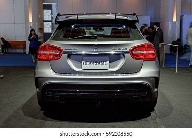 NONTHABURI, THAILAND - MARCH 22: The Mercedes Benz GLA45 AMG is on display at the 37th Bangkok International Motor Show 2016  on March 22, 2016 in Nonthaburi, Thailand.