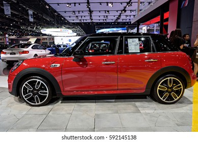 NONTHABURI, THAILAND - MARCH 22: The Mini Hatch 5-door is on display at the 37th Bangkok International Motor Show 2016  on March 22, 2016 in Nonthaburi, Thailand.