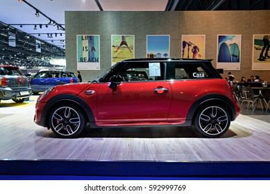 NONTHABURI, THAILAND - MARCH 22: The Mini John Cooper Works is on display at the 37th Bangkok International Motor Show 2016  on March 22, 2016 in Nonthaburi, Thailand.