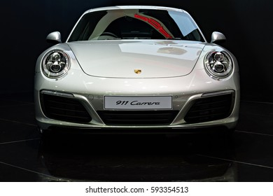 NONTHABURI, THAILAND - MARCH 22: The Porsche 911 Carrera is on display at the 37th Bangkok International Motor Show 2016  on March 22, 2016 in Nonthaburi, Thailand.