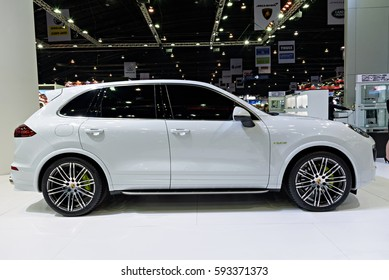 NONTHABURI, THAILAND - MARCH 22: The Porsche Cayenne Se-hybrid is on display at the 37th Bangkok International Motor Show 2016  on March 22, 2016 in Nonthaburi, Thailand.