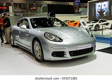 NONTHABURI, THAILAND - MARCH 22: The Porsche Panamera Se-Hybrid is on display at the 37th Bangkok International Motor Show 2016  on March 22, 2016 in Nonthaburi, Thailand.