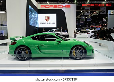 NONTHABURI, THAILAND - MARCH 22: The Porsche Cayman GT4 is on display at the 37th Bangkok International Motor Show 2016  on March 22, 2016 in Nonthaburi, Thailand.