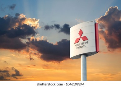 Nonthaburi - Thailand, March 24, 2018 mitsubishi logo Business Investing Automotive Technology # 1 The most famous of Thailand.