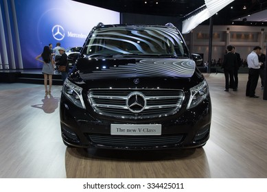 NONTHABURI, THAILAND - MARCH 24: The Mercedes Benz The New V-Class is on display at the 36th Bangkok International Motor Show 2015 on March 24, 2015 in Nonthaburi, Thailand.