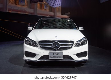 NONTHABURI, THAILAND - MARCH 24: The Mercedes Benz E300 Bluetec Hybrid is on display at the 36th Bangkok International Motor Show 2015 on March 24, 2015 in Nonthaburi, Thailand.