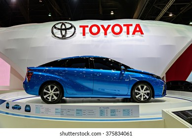 NONTHABURI, THAILAND - MARCH 24: The Toyota Mirai is on display at the 36th Bangkok International Motor Show 2015 on March 24, 2015 in Nonthaburi, Thailand.