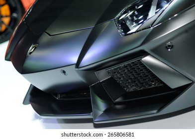 NONTHABURI, THAILAND   March 25: Details Of The Lamborghini Aventador On  Display During The