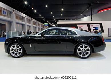 NONTHABURI, THAILAND - MARCH 25: The Rolls Royce Wraith is on display at the 37th Bangkok International Motor Show 2016  on March 25, 2016 in Nonthaburi, Thailand.
