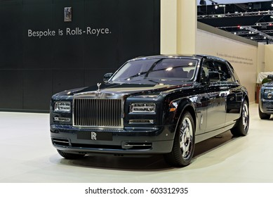 NONTHABURI, THAILAND - MARCH 25: The Rolls Royce Phantom Extended Wheelbase is on display at the 37th Bangkok International Motor Show 2016  on March 25, 2016 in Nonthaburi, Thailand.