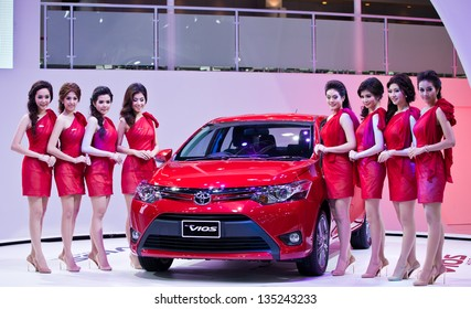 NONTHABURI, THAILAND - MARCH 26: The new Toyota vios Showed in 34th Bangkok International Motor Show on March 26, 2013 in Nonthaburi, Thailand.