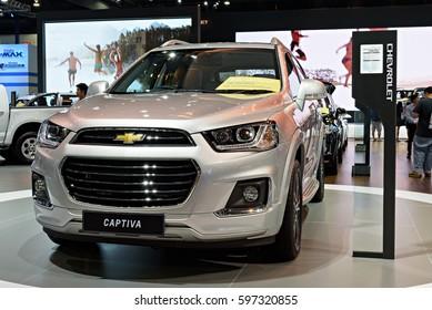 NONTHABURI, THAILAND - MARCH 28: The Chevrolet Captiva is on display the 37th Bangkok International Motor Show 2016  on March 28, 2016 in Nonthaburi, Thailand.