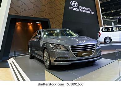 NONTHABURI, THAILAND - MARCH 28: The Hyundai Genesis is on display the 37th Bangkok International Motor Show 2016  on March 28, 2016 in Nonthaburi, Thailand.