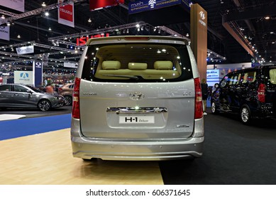 NONTHABURI, THAILAND - MARCH 28: The Hyundai H1 Deluxe is on d isplay the 37th Bangkok International Motor Show 2016  on March 28, 2016 in Nonthaburi, Thailand.