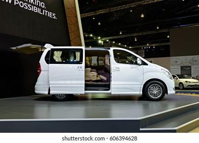 NONTHABURI, THAILAND - MARCH 28: The Hyundai Grand Starex Premium is on display the 37th Bangkok International Motor Show 2016  on March 28, 2016 in Nonthaburi, Thailand.
