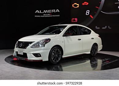 NONTHABURI, THAILAND - MARCH 28: The Nissan Almera Nismo is on display the 37th Bangkok International Motor Show 2016  on March 28, 2016 in Nonthaburi, Thailand.