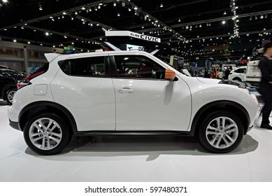 NONTHABURI, THAILAND - MARCH 28: The Nissan Juke is on display the 37th Bangkok International Motor Show 2016  on March 28, 2016 in Nonthaburi, Thailand.