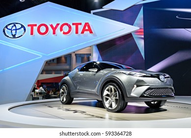 NONTHABURI, THAILAND - MARCH 28: The Toyota C-HR concept is on display the 37th Bangkok International Motor Show 2016  on March 28, 2016 in Nonthaburi, Thailand.