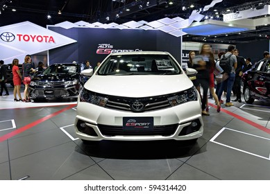NONTHABURI, THAILAND - MARCH 28: The Toyota Altis ESport nurburgring edition is on display the 37th Bangkok International Motor Show 2016  on March 28, 2016 in Nonthaburi, Thailand.
