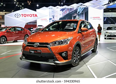 NONTHABURI, THAILAND - MARCH 28: The Toyota Yaris TRD Sportivo is on display the 37th Bangkok International Motor Show 2016  on March 28, 2016 in Nonthaburi, Thailand.