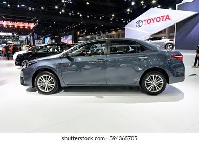 NONTHABURI, THAILAND - MARCH 28: The Toyota Corolla Altis is on display the 37th Bangkok International Motor Show 2016  on March 28, 2016 in Nonthaburi, Thailand.