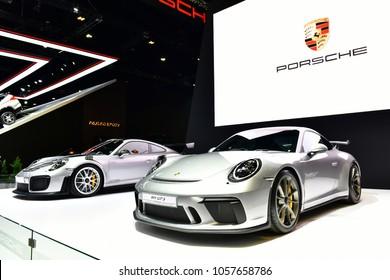 NONTHABURI, THAILAND - MARCH 28,2018: New Porsche 911 GT2 RS on display at The 39th Bangkok International Motor show in Nonthaburi, Thailand.