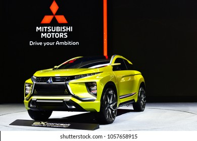 NONTHABURI, THAILAND - MARCH 28,2018: New Mitsubishi EX concept electric crossover on display at The 39th Bangkok International Motor show in Nonthaburi, Thailand.