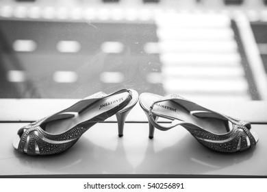 Nonthaburi, Thailand - March 29, 2013 - Bride shoes prepared for new bride in wedding ceremony