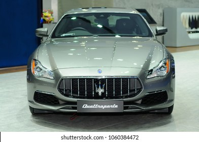 NONTHABURI, THAILAND - March 29: The Maserati Quattroporte is on display during The 39th Bangkok International Motor Show on March 29, 2018 in Nonthaburi, Thailand.
