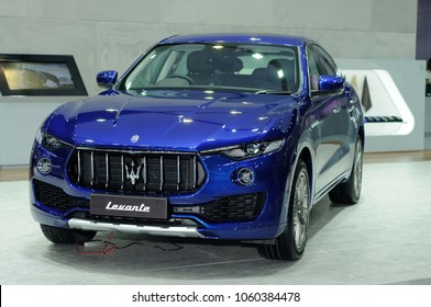 NONTHABURI, THAILAND - March 29: The Maserati Levante is on display during The 39th Bangkok International Motor Show on March 29, 2018 in Nonthaburi, Thailand.