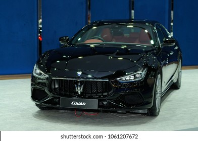 NONTHABURI, THAILAND - March 29: The Maserati Ghibli is on display during The 39th Bangkok International Motor Show on March 29, 2018 in Nonthaburi, Thailand.