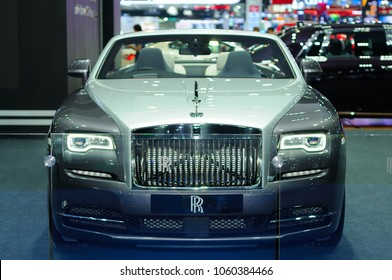 NONTHABURI, THAILAND - March 29: The Rolls Royce Dawn is on display during The 39th Bangkok International Motor Show on March 29, 2018 in Nonthaburi, Thailand.