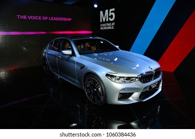 NONTHABURI, THAILAND - March 30: The All-New BMW M5 is on display during The 39th Bangkok International Motor Show on March 30, 2018 in Nonthaburi, Thailand.