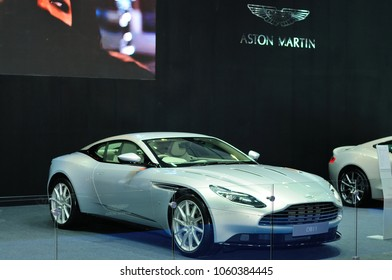 NONTHABURI, THAILAND - March 30: The Aston Martin DB11 Coupe is on display during The 39th Bangkok International Motor Show on March 30, 2018 in Nonthaburi, Thailand.