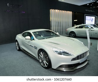 NONTHABURI, THAILAND - March 30: The Aston Martin Vanquish Coupe is on display during The 39th Bangkok International Motor Show on March 30, 2018 in Nonthaburi, Thailand.