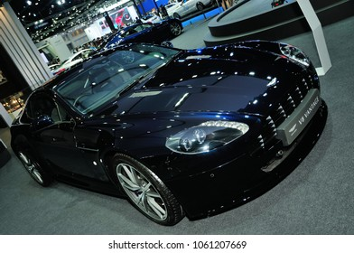 NONTHABURI, THAILAND - March 30: The Aston Martin V8 Vantage is on display during The 39th Bangkok International Motor Show on March 30, 2018 in Nonthaburi, Thailand.