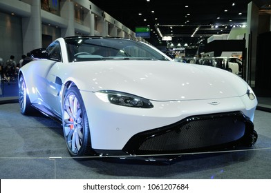 NONTHABURI, THAILAND - March 30: The Aston Martin Vantage is on display during The 39th Bangkok International Motor Show on March 30, 2018 in Nonthaburi, Thailand.
