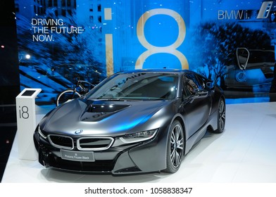 NONTHABURI, THAILAND - March 30: The BMW i8 Protonic Frozen Black is on display during The 39th Bangkok International Motor Show on March 30, 2018 in Nonthaburi, Thailand.