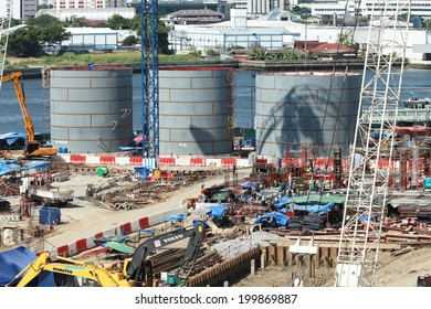 NONTHABURI -THAILAND - MARCH 30 : Construction of EGAT's North Bangkok gas combine cycle power plant 800 MW on March 30, 2014 in Nonthaburi province, Thailand